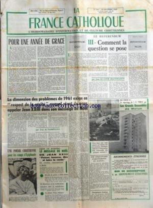 FRANCE CATHOLIQUE (LA) [No 735] du 30/12/1960 - POUR UNE