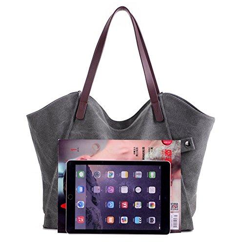ParaCity Damen Handtasche, einfacher Stil, Vintage, Leinen, Schultertasche Tragetaschen, Shopper, Tasche für Damen Mädchen Studenten SIMPLE- Gray (Party Taschen City Party)