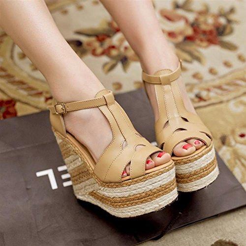 LvYuan Frauen Sommer Sandalen / Büro & Karriere / Sexy Ultra High Heel / Wasserdichte Plattform / Stroh Flechten / Wedge Ferse / Peep-Toe Gürtelschnalle / römische Schuhe Brown