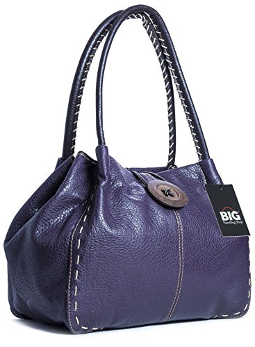 Grande borsa alla moda con tracolla e dettaglio bottone, in pelle sintetica, con sacchetto antipolvere e confezione regalo (Deep Purple (BG451))