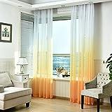 SIMPVALE 1 Pieza Cortinas de Gasa - degradados - Visillos Transparente - para Dormitorio, la Sala de Estar, balcón, Salon (Amarillo con Blanco, Ancho 150cm / Altura 260cm)