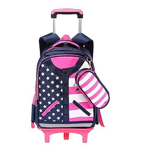 Schultasche Schulrucksack Trolley Kinderrucksack mit Rädern für Mädchen Kinder (Rosa)