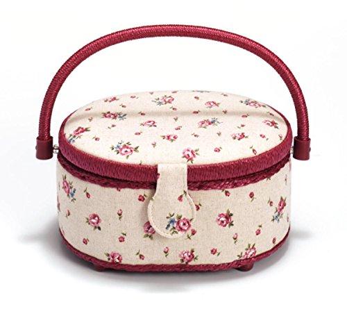 Prym-delicato e finiture, motivo: rosa di campagna, colore: bordeaux-Cesto ovale da cucito, lino, avorio, misura piccola
