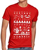 style3 Ghibli Anime Christmas Sweater Herren T-Shirt t Totoro Mononoke Schloss Chihiro Film, Größe:L, Farbe:Rot