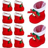10STK Nikolausstiefel zum Befüllen Weihnachtsdeko Bonbons Weihnachten Geschenk Kunststoff beflockt mit Plüsch und Samt