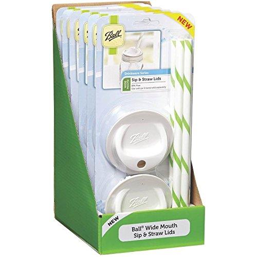 Jarden Ball SIP & Stroh Deckel breit Mund Set 4,6Pack, weiß (Jarden Ball)
