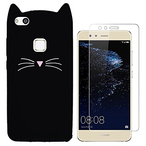 Hcheg 3D Silikon Schutzhülle Tasche für Huawei P10 lite Hülle Katze Design schwarz/weiß Case Cover + 1X Screen Protector