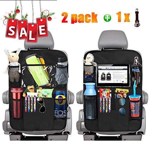 2 Stück Auto Rückenlehnenschutz,Große Taschen und iPad-Tablet-Halter,Auto Rücksitz-Organizer für Kinder,Kick-Matten-Schutz für Auto(schwarz)