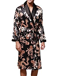 25cc57e4d2ada Herren Seide Pyjamas Langärmelige Nachthemden Bademantel Trainingsanzug  Chinesische Drucke