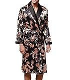 PFSYR Herren Seide Pyjamas Langärmelige Nachthemden Bademantel Trainingsanzug Chinesische Drucke,Black-XL