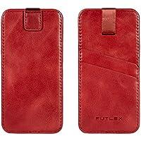 """Astuccio per iPhone 7 / 6 / 6S (4.7""""), Custodia FUTLEX in vera pelle, stile vintage - Linguetta a strappo - Custodia - Custodia a scorrimento - Rosso"""