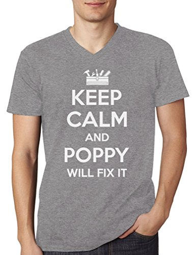 Keep Calm And POPPY Will Fix It Funny Gift for Grandpa V-Neck T-Shirt