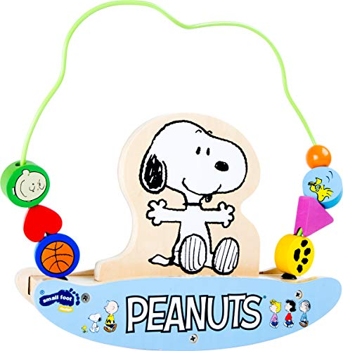 Small Foot 4347 Peanuts Motorikschleife mit Wippe, edle Holzversion, robuste Kindergartengröße 25cm hoch