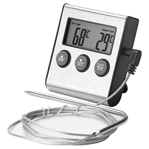 Digital Thermometer Newlemo Fleisch Thermometer mit Timer Alert 2 in 1 Bratenthermometer ist Hitzebeständig bis 250°C mit Alarm- und Timerfunktionen für Küche Kochen BBQ Grill Steak