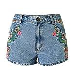 iRachel Damen Sommer Stickerei Hohe Taille Hotpants Demin Short kurze Hose Loch Hose Jeans