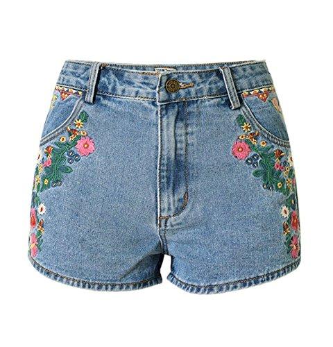 iRachel Damen Sommer Stickerei Hohe Taille Hotpants Demin Short Kurze Hose Loch Hose Jeans -