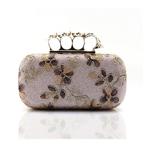 H:oter Frauen u. Mädchen Eleganz & Abschlussball-Partei-Abendhandtasche mit Kristall magischen Ring Griff, Handtasche, Geschenkideen - verschiedene Farben, Preis / Stück Pink