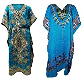 Pal Bro's Store Indian Women's Free Size Long Floral Printed Polyester Beach Wear Kaftan (Pack of 2) - Multicolor Blue