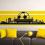 Grandora W890 Wandtattoo Skyline Dortmund l schwarz 165 x 47 cm l Stadt Fußball Fan Verein Wohnzimmer Aufkleber Wandaufkleber Wandsticker