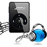 Carsge MP3 Media Player Lecteur de Musique Portable Rechargeable Sport Surface Miroir Bouton C Carte TF USB avec Clip Metal (Noir)