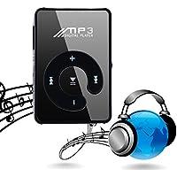 carsge Lettore MP3 Gommato con Clip Lettore di Musica Mini MP3 Player Portabile Anti-shock Supporta Scheda Micro SD (nero)