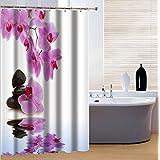 fourHeart Cortina de ducha, Cortinas baño, Poliéster, Impermeable y Resistente al Moho, Incluye 12 Anillos, impresión 3D Piedras y orquídeas, 180 x 180 cm
