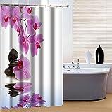 fourHeart 3D Blume und Stein Kunst Duschvorhang Wellness 180 x 200 cm, hochwertige Qualität, 100% Polyester, wasserdicht, Schimmel-Beweis, inkl. 12 Duschvorhangringe