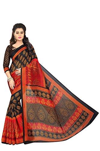 PRAMUKH STORE Himani Black Saree For Women's Bhagalpuri Saree With Blouse Piece, Black - Red and Multi Color Saree, New Design sarees, Latest Collection Sarees 2018