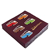 VW Collection by BRISA Servietten mit VW Bulli T1 Motiv 20 tlg. 33x33 cm 3-lagig
