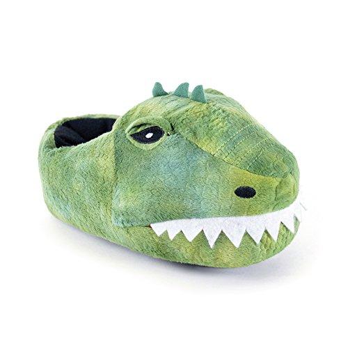 SlumberzzZ Kids Boys Novelty 3D Dinosaur Design Warm Faux Fur Slip-On Slippers