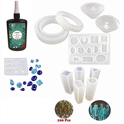 Joligel UV Epoxy Harz Schmuck Machen Kit klar transparent ungiftig, 250g Cristal Epoxy + 11 Silikonformen (31 Formen) + 100 Schrauben, Home Schmuck DIY Armbänder Anhänger Halsketten Ohrringe