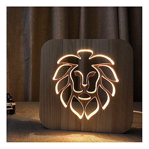 Weihnachten Nachtlicht Augenschutz Lion Carving Muster 3D Visuelle LED-Licht Massivholz Kinder Schlafzimmer Büro Tischlampe Geschenk Dekoration -