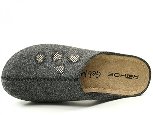Rohde Damen Pantolette 6080-82 anthrazit Beige