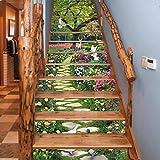 FLFK 3D Cervi degli uccelli del giardino floreale della primavera Autoadesiva Le scale alzata Murale Vinile decalcomania Adesivi per scale decorazione 39,3 pollici x7,08 pollici x 13 pezzi