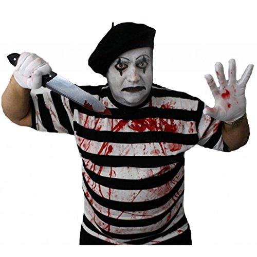 ILOVEFANCYDRESS Zombie Killer Pantomime Clown = STRASSENKÜNSTLER=KOSTÜME VERKLEIDUNG=Tshirt+ BARETT+Handschuhe+KUNSTBLUT+Make UP+Plastik ()