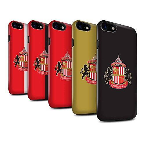 Offiziell Sunderland AFC Hülle / Glanz Harten Stoßfest Case für Apple iPhone 8 / Schwarz Muster / SAFC Fußball Crest Kollektion Pack 6pcs