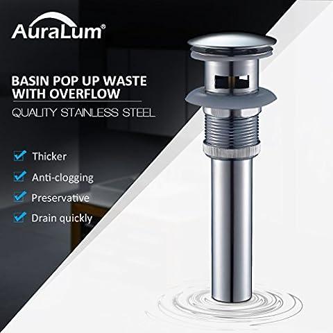 Auralum® Bonde Lavabo Pop-up Automatique avec Trop Plein pour Salle de Bain