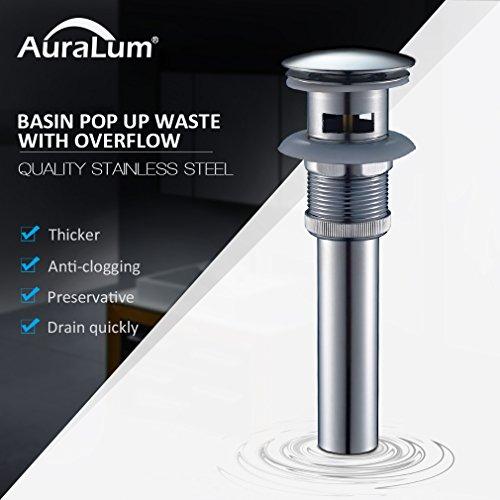 Auralum Válvula Desagüe Pop-up Tubo Válvula Atomizador Drain Stopper Pop-Up de Residuos Válvula De Drenaje Desbordamiento per lavabo Baño (Type 1)