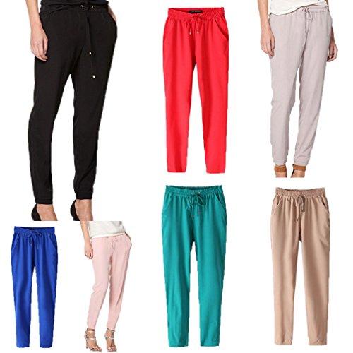Smile YKK Pantalon Mousseline de Soie Femme Legging Fluide Automne Hiver Soirée Casual Elégant Rouge