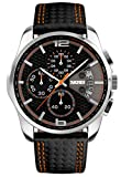 mastop Herren-Uhren Chronograph 5ATM wasserdicht Leder schwarz Quarz Sports Casual Armbanduhr