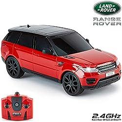 Cmj RC Carstm Range Rover Sport Produit Officiel Télécommande Voiture 1:24 pour Enfants et Adultes Aussi Bien avec Fonctionne Lumières LED, Télécommandé Supercar (Rouge)