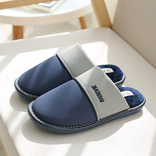 DogHaccd pantofole,In inverno il cotone pantofole uomini indoor home soggiorno gancio caldo spessore impermeabile giovane inverno pantofole in pelle donna Blu scuro1