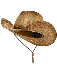 MG té teñida paja sombrero de cowboy rafia