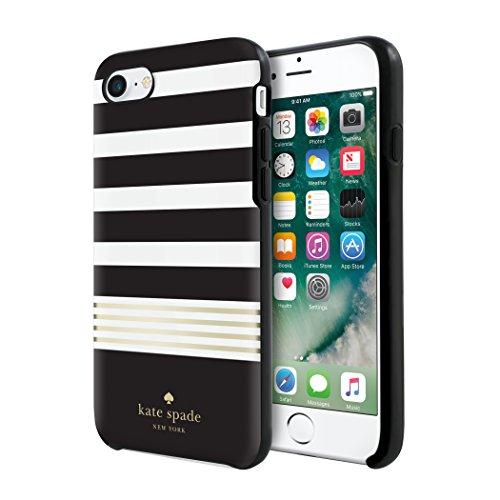 Kate Spade New York Hardshell Case Schutzhülle für Apple iPhone 7 / 8 - schwarz/weiß/Gold [Hochglanz Design | Goldenes Logo | Hochwertige Materialien] - KSIPH-055-STBWG