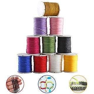 ETSAMOR 10 Rolls Nylon Beading Thread Cord 10 Colors 0.8mm Silky Macrame Beading Cord Braided for Bracelet Necklace Jewelry Making String