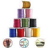 ETSAMOR 10 Pièces Cordon de Coton 10 Couleurs Fil Coton pour Collier Bracelet Craft Faisant Fabrication de Bijoux 10M