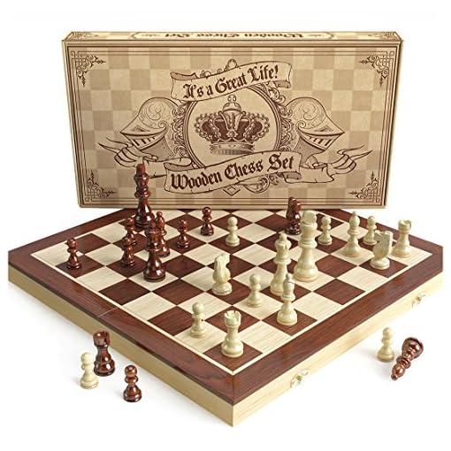 aGreatLife-Holz-Schachspiel-Universales-Standard-Holz-Schachbrettspielsatz-Handgefertigte-mit-15-Zoll-Brett-und-Mit-Magnetverschluss-Perfektes-Anfnger-Schachspiel-fr-Kinder AGREATLIFE Königliches Schachspiel aus Holz handgefertigt – Hochwertiges Schachbrett aus Echtholz magnetisch – Wooden Chess Set Mittelalter klappbar 38×38 mit Aufbewahrungsbox -