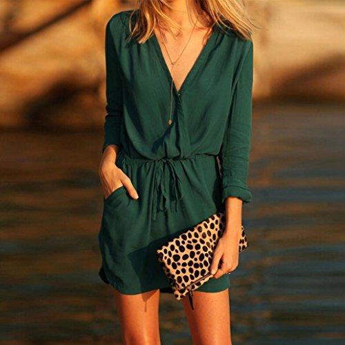 Amlaiworld Femmes V Neck robe manches longues robe Mini uniformes Vert