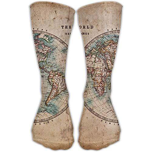 Benutzerdefinierte lustige Strümpfe Klassiker alte gebeizte Weltkarte Mädchen Jungen Knie lange Socken Reisen atmungsaktiv (Cap Weltkarte)