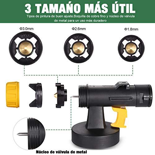 Pistola de Pintura 500W, TECCPO Pistola de Pulverizacion Pintura Eléctrica, 800ml/Min, 3 Modos de Pintura, con 3 Boquillas de Metal y Tanque